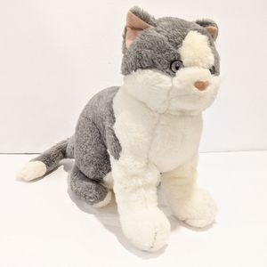"""White and grey cat plush 10"""""""